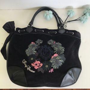 Juicy Couture black velour /leather handbag
